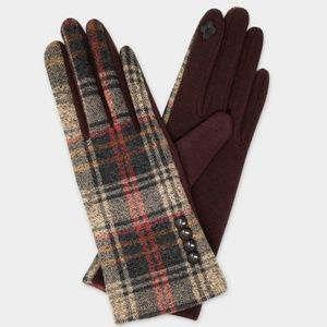 MADRAS PLAID WITH BUTTON ACCENT SMART GLOVES-Brown